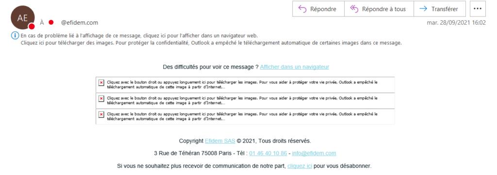 Un email contenant uniquement des images